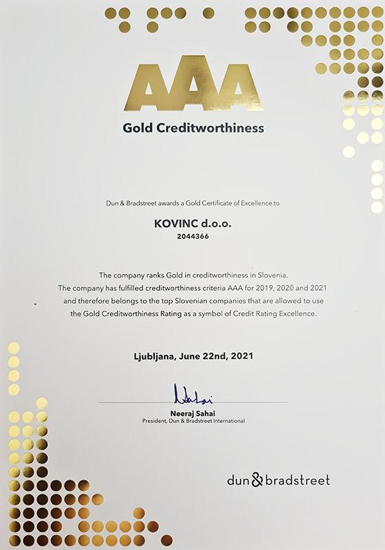 Gold Creditworthiness - Kovinc d.o.o. (2021)